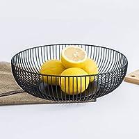 OUNONA フルーツ入れ フルーツボウル フルーツバスケット 果物入れ ワイヤー モダンな果物かご 野菜 小物入れ 収納 ストレージバスケット サイズL 黒