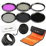 レンズフィルター 58mm、K&F Concept® 58mmフィルターキット カメラ用フィルター(UV+CPL+FLD+ND2 ND4 ND8)フィルターセット 超薄型UVフィルター レンズ保護と紫外線吸収用+PLフィルター 偏光フィルター 反射除去用+超薄型FLDフィルター 蛍光灯補正+NDフィルターキット光量調節用 減光フィルター ND2 ND4 ND8 3枚 Canon EOS 600D 700D 100D 1100D 1200D 650Dデジタル一眼レフカメラ18-55MMレンズ専用+レンズを拭く超極細繊維布+花形レンズフード+レンズキャップ+フィルターケース