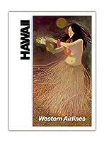 ハワイ - 欧米の航空会社 - ハワイのフラダンサー - ビンテージなハワイの旅行のポスター c.1960s - アートポスター - 30.5cm x 41cm