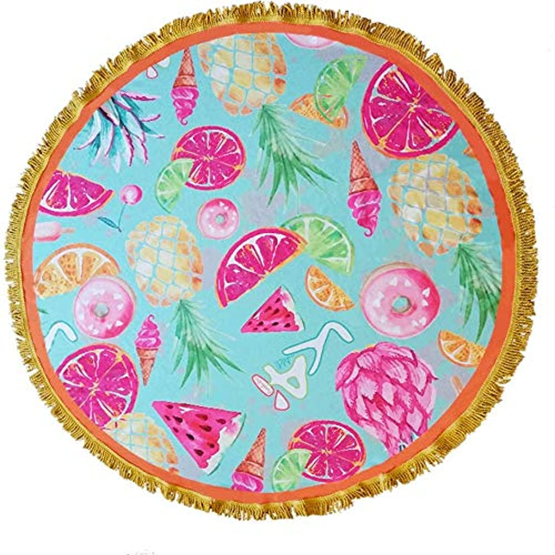 引き渡す泥設計図タッセル付き大型ラウンドピクニックマットタオル毛布多機能用途毛布ビーチラウンドリーサークルピクニックカーペット手芸150 x 150 CM (色 : Pattern 8, サイズ : 150 x 150 cm)