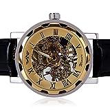 WINNER メンズ腕時計 機械式腕時計 手巻き スケルトンタイプ ウォッチ ゴールド+ブラック