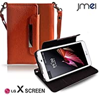 LG X Screen LGS02 カバー jmeiオリジナルレザー手帳カバー Dandy オレンジ(無地) simフリー エルジー x スクリーン スマホケース 手帳型 スマートフォン ケース