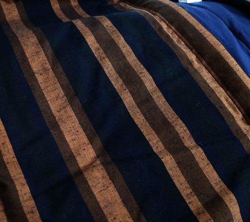 3Lビックはんてん 久留米手づくり/半天/半纏/日本製/宮田織物952-E黒茶縞/掻巻/褞袍(どてら)/長着/袢纏/はんてん/長丹前