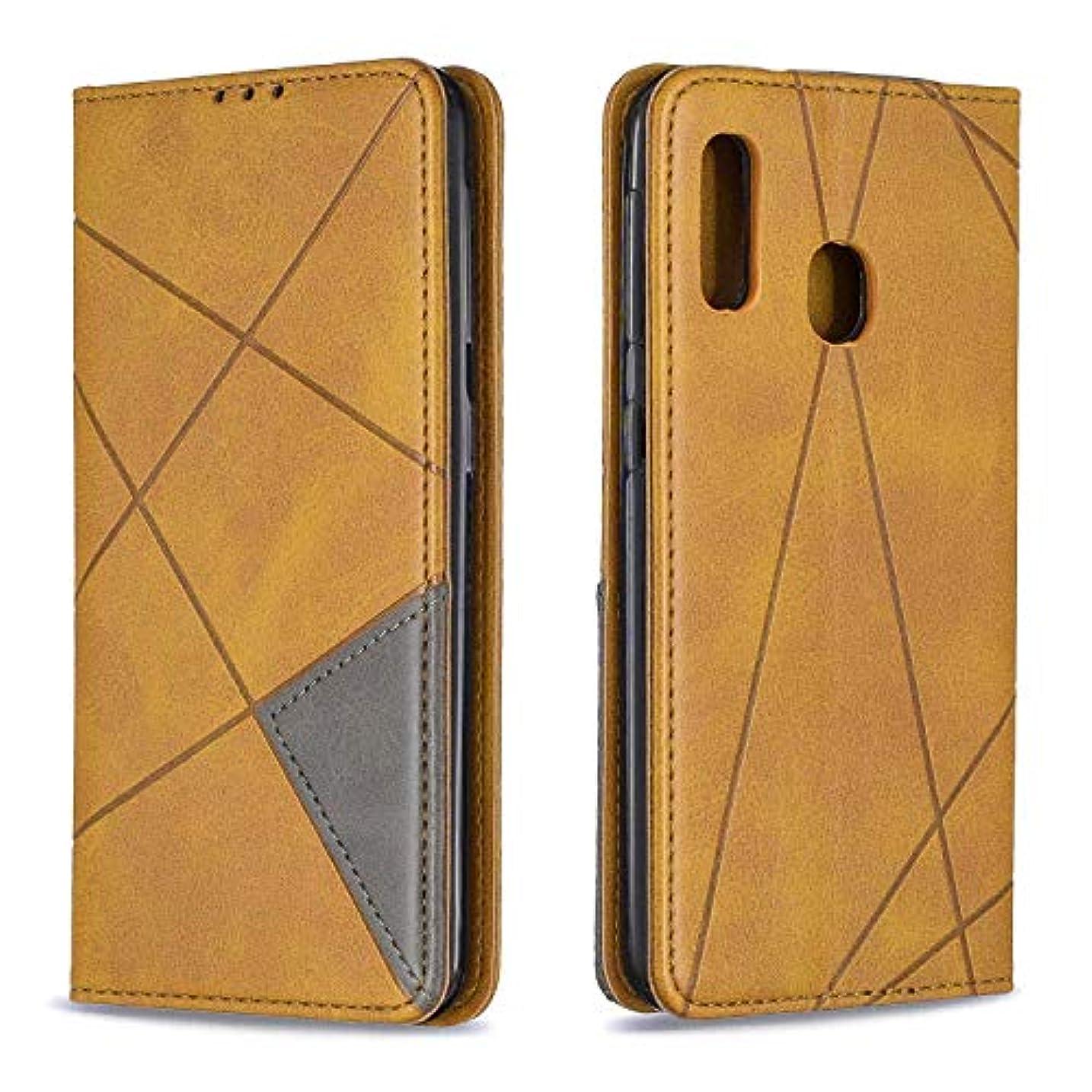 暴徒靴アデレードCUSKING Galaxy A10e ケース, 高級 Samsung Galaxy A10e 手帳型 スマホケース, PUレザー フリップ ノート型 カード収納 付き保護ケース, イエロー