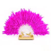 SGings 女性のハンドヘルドファンフェザーファン用ダンス小道具ハンドグースフェザー折りたたみファンウェディングダンスパーティーウエディング伝統的な絶妙なギフトパーティーの装飾 (ホトピンク)