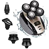 Waterproof Men's Electric Shaver and Trimmer Grooming Kit, Rechargeable 5-in-1 Electric Razor/Hair Trimmer/Clip Nose Hair/Facial Cleansing Brush and Soft Face Sponge