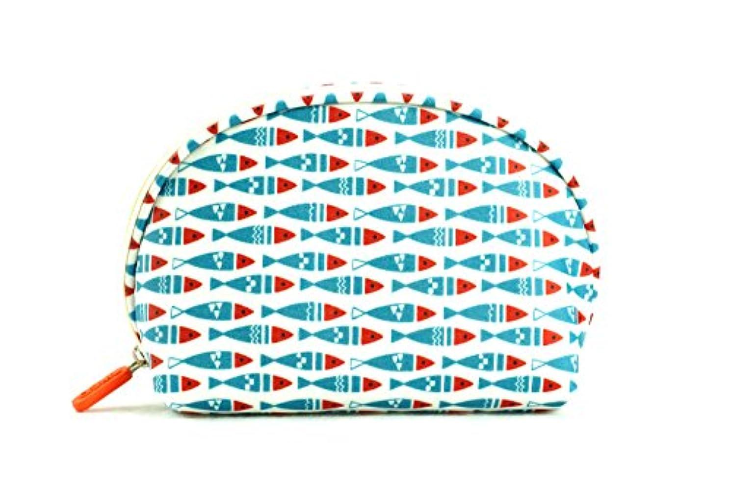 洗う推進祝福する化粧??ーチ、大容量、水を弾くれレディーストラベルバック、コンパクト,多機能半円仕様化粧??ーチ。内ポケットの仕切りがあります。(ブルー赤い魚のデザイン)