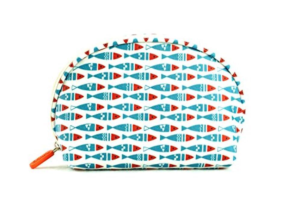 感じどれか価値化粧??ーチ、大容量、水を弾くれレディーストラベルバック、コンパクト,多機能半円仕様化粧??ーチ。内ポケットの仕切りがあります。(ブルー赤い魚のデザイン)
