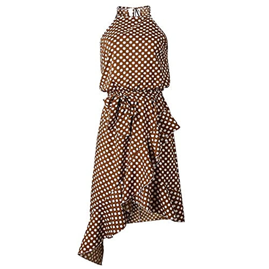 以降整理する再編成するMaxcrestas - 夏のドレスの女性の新しいファッションホルターポルカドットプリントカジュアルドレスレディースフリルエレガントなドレス