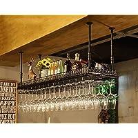 クリエイティブホームバー、ワインラックハンギングガラスホルダー、ワイングラスラック、シェルフワイングラスホルダー、ワイングラスラック、ワイングラスラック、シャンパングラスラック、ガラス器具ラック (色 : Black, サイズ さいず : 80 * 35cm)
