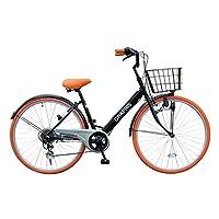 自転車 シティサイクル ママチャリ シマノ製6段変速 26インチ 通勤 通学 街乗り メンズレディース カラー/ブラックオレンジ