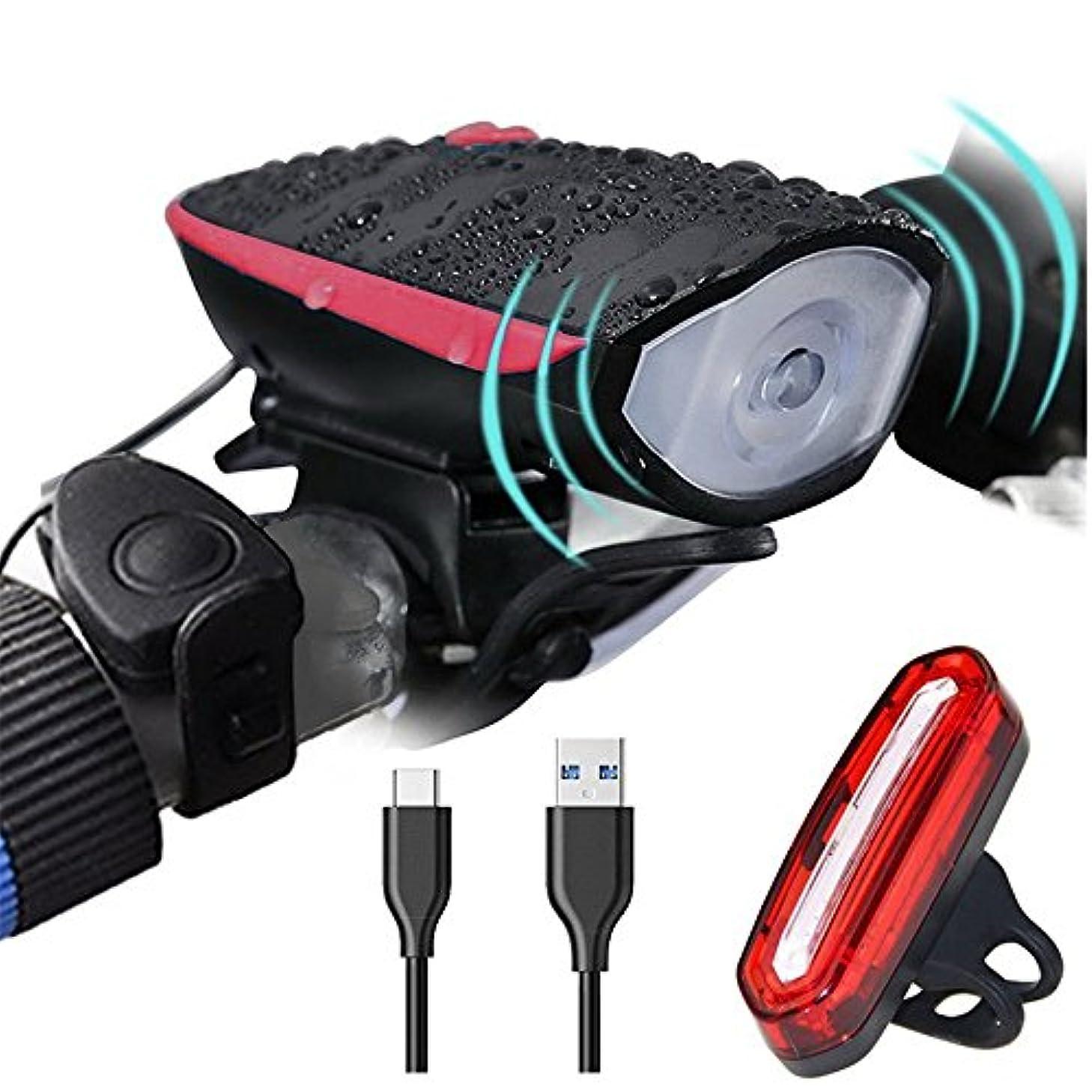 小道具関税スパイ充電式自転車ライト USB充電自転車ライト、スーパーブライト自転車ランプグループ、マウンテンLED自動運転ランプ、防水モード循環ランプ懐中電灯、1色とりどりのテールライト。