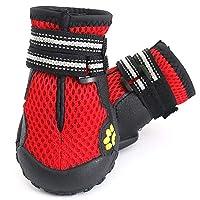 MEI GU ペット靴 - 屋外ペット犬の靴4大犬の靴滑り止め防止秋の季節ハイキングシューズ Iペット用品 (色 : Red, サイズ さいず : XL)