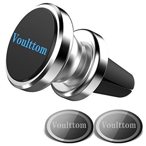 Voulttom マグネット式ホルダー エアコンの通気口用 360度回転 コンパクト スマホスタンド Iphone8 /7/7 plus/6s plus 対応 (シルバー)
