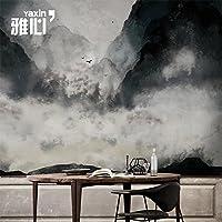 HANHUAN アールデコ様式のフレスコ画の壁紙の壁画防水カスタマイズ可能なサイズの東洋の中国様式の印刷インクの絵画の風景テレビの背景の家の装飾のシルクのシームレスな壁のダマスク織の Non-Toxic 環境保護バスルーム/レストラン/バー/ホール/リビングルーム/玄関/キッチン/オフィス/ベッドルーム、 150 x 105 cm