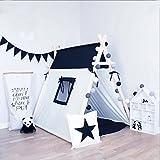 黒と白の四角デザイン100%コットンキャンバスインドティーピー子供たちはマットやクッション児プレイハウスのためのテントを再生します