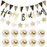 バースデー 飾 HAPPY BIRTHDAY 誕生日 飾り付け セット 風船 誕生日 デ コレーション セット おしゃれ ガーランド 3種 きらきら 風船 10個