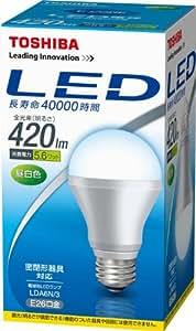 東芝 E-CORE(イー・コア) LED電球 420lm 口金直径26mm 昼白色 密閉器具対応 LDA6N/3