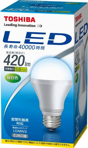 東芝ライテック LED電球 420lm 昼白色 LDA6N/3 箱1個