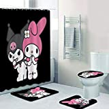 Palglg Lovely Kuromi and My Melody 4 Piece Bath Set Shower Curtain Set with Non-Slip Rug, Toilet Lid Cover, Bath Mat and 12 H