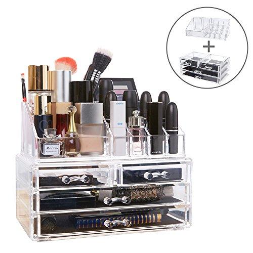 DreamGenius 化粧品収納ボックス メイクケース コスメ収納スタンド ジュエリーボックス 引き出し 小物/化粧品入れ透明アクリル