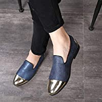CHENDX Shoes Driving Loafers for Men Walking Lightweight Shoes Slip on Style Pointed Cap Toe PU Upper Golden Decoration Split Joint Absorb Sweat Texture (Color : Blue, Size : 5 UK)