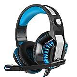 Beexcellent PS4用 ゲーミングヘッドセット パソコン PC スマホ ゲーム等に対応 ヘッドホン LED照明 重低音 騒音隔離 360度調整可能マイク 伸縮可能ヘッドアーム機能付き - ブルー