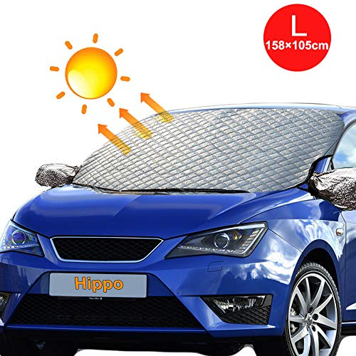 Hippo 四季汎用 紫外線保護 日焼け サンシェード フロントガラス防止スプレー カーフロントカバー 紫外線対策 車種汎用 マット 車 カバー 裏起毛 軽自動車 Lサイズ158*108cm