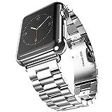 Evershop Apple Watch 金属ベルト 38mmステンレスベルト ビジネス風 時計バンド 腕時計ストラップ 高級金属製時計ベルトseries 1/2/3対応 (Silvery)