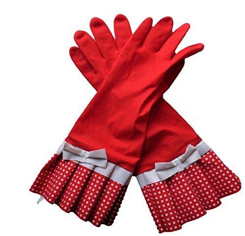 Home & Kitchen 家事が楽しくなる ゴム手袋 2ペアセット Mサイズ 中厚手 レッド
