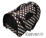 【ケーセブン】Kseven☆ ペット キャリー バッグ 軽い 折り畳み式 ケージ ケース 犬 猫 かわいい ブラウン ドット 水玉 (M)