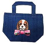 デニムバッグ/お散歩バッグ/キャバリア6/犬 かばん トートバッグ/ キャンバス雑貨グッズ犬雑貨