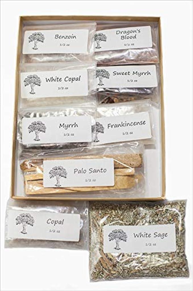オン保証厚さ聖なる香り 樹脂製お香 バラエティサンプラーパック 1/2オンス 乳香 ミルラースウィートミルラ コーパル ホワイト Copal-Benzoin-Dragon's Blood-Ground ルーズリーフ ホワイトセージ