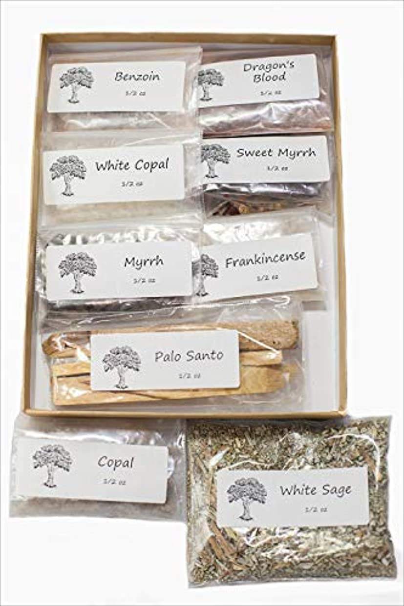 スキャンダル道路を作るプロセスサスペンド聖なる香り 樹脂製お香 バラエティサンプラーパック 1/2オンス 乳香 ミルラースウィートミルラ コーパル ホワイト Copal-Benzoin-Dragon's Blood-Ground ルーズリーフ ホワイトセージ