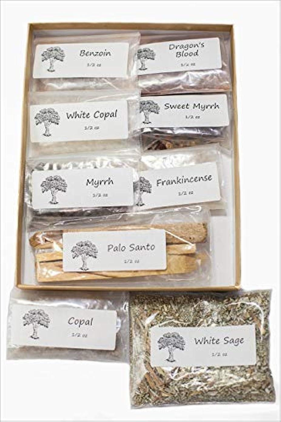 現代利用可能機関聖なる香り 樹脂製お香 バラエティサンプラーパック 1/2オンス 乳香 ミルラースウィートミルラ コーパル ホワイト Copal-Benzoin-Dragon's Blood-Ground ルーズリーフ ホワイトセージ