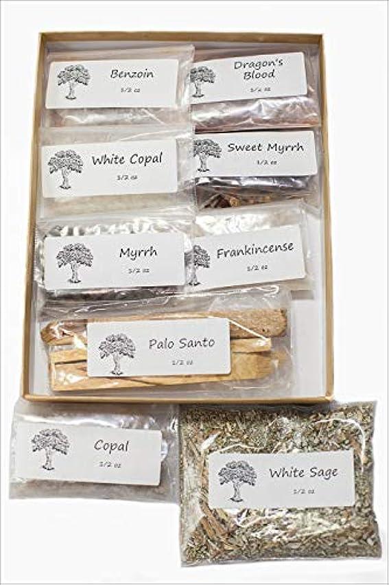 即席王朝実行可能聖なる香り 樹脂製お香 バラエティサンプラーパック 1/2オンス 乳香 ミルラースウィートミルラ コーパル ホワイト Copal-Benzoin-Dragon's Blood-Ground ルーズリーフ ホワイトセージ
