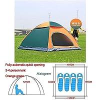 自動ポップアップアウトドアファミリーキャンプのテント1つの2 3 4人複数モデルイージーオープンキャンプテントウルトラライトインスタントシェード ZASUBC (Color : Green Orange 3 4 man)