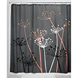 (Gray and Coral, 180-cm by 180-cm) - InterDesign Thistle Shower Curtain, Standard - Grey and Coral