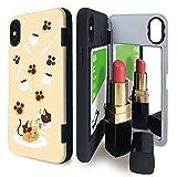 iPhoneX/XS ミラー付き tpu ケース ねこ ネコ 猫 キャット 猫柄 キュービーズー ブレイクタイム カードケース 肉球 イラスト iphone x case ねこ柄 ねこがら ハイブリットケース