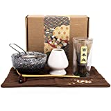 Bamboo Matcha Tea Whisk Set (Chasen) Matcha Bowl (Chawan) Bamboo Scoop (Chashaku) Ceramic Whisk Holder Handmade Matcha Ceremony Starter Kit for Traditional Japanese Tea Ceremony (7 Pcs)