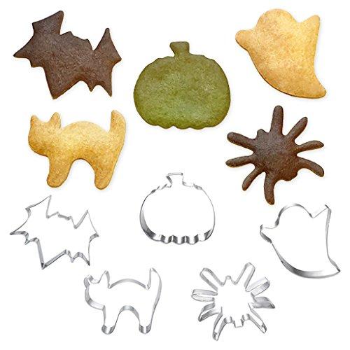 [1616&co.] Halloween ハロウィン クッキー型 ステンレス 金型 モールド 5種 セット / パンプキン(かぼちゃ)・ゴースト(おばけ)・スパイダー(くも)・バット(こうもり)・キャット(ねこ) / お菓子作り クッキー ビスケット ホットケーキ パンケーキ / お弁当作り (デコ弁・キャラ弁) おにぎり サンドイッチ 野菜 カッター / ハンドメイド クラフト / HW5