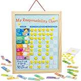 My Responsibility Chart Magnetic Dry Erase Wooden Chore Chart with Storage Bag 24 Goals and 56 Reward Stars by Imagination Gener