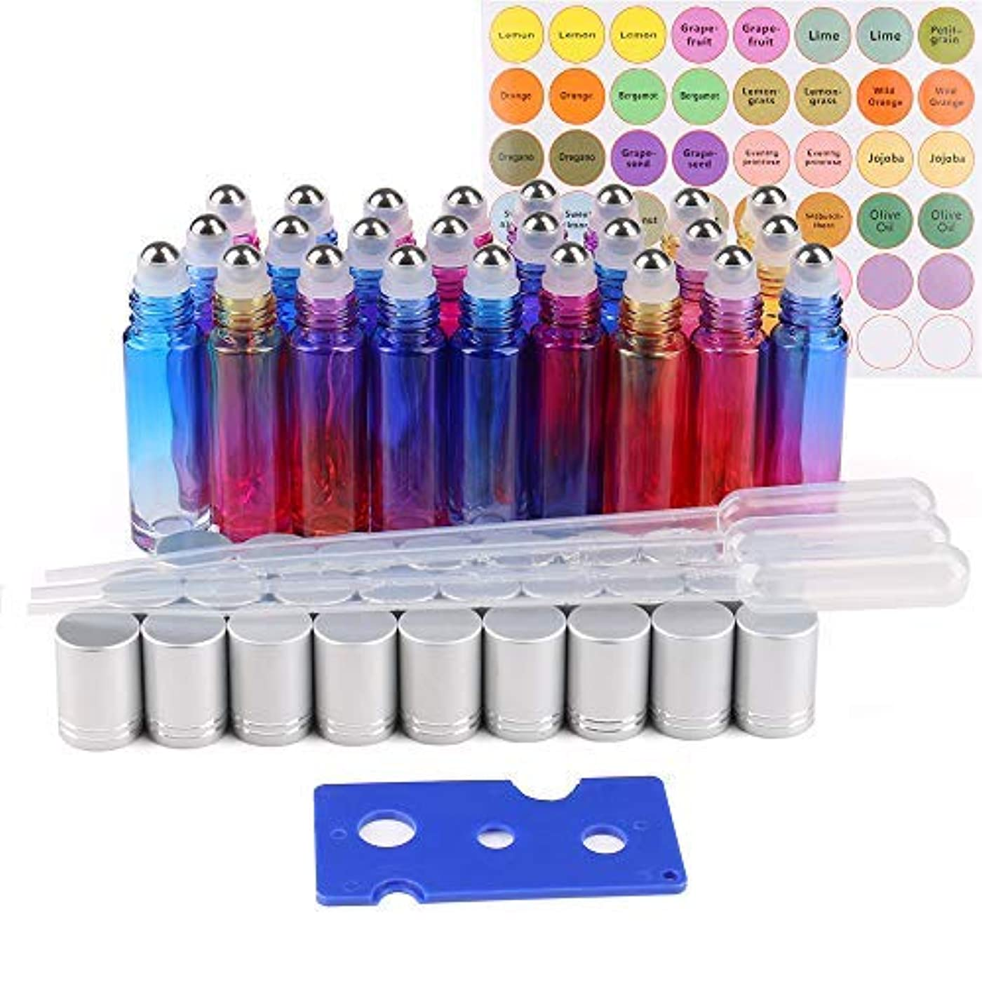 シャービデオ効能25 Pack Essential Oil Roller Bottles, 10ml Gradient Color Roll on Bottles with Stainless Steel Roller Balls for...