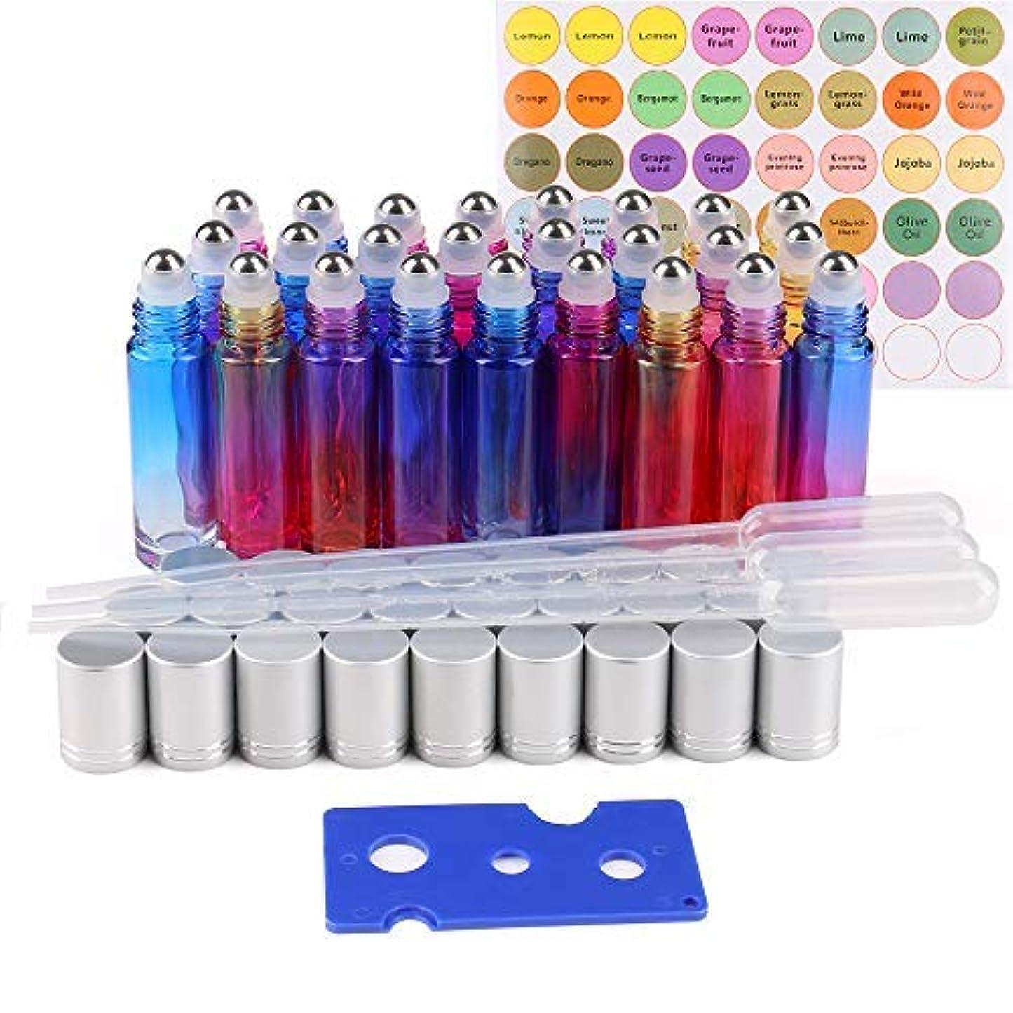 降伏監督する想像力豊かな25 Pack Essential Oil Roller Bottles, 10ml Gradient Color Roll on Bottles with Stainless Steel Roller Balls for...