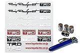 TRDミニステッカーセット 08231-SP073 +アルミ エアーバルブ キャップ 4個 セット(AM110)+Miniタイヤゲージセット