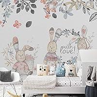 Hanhantang 手描きの抽象的なウサギ壁画の寝室のベッドサイドの背景の壁のリビングルームのテレビの背景の壁紙-400X280Cm
