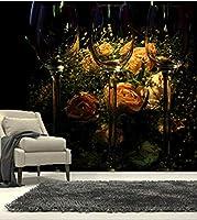 Lcsyp カスタム3D壁画、3D美しいバラとゴブレットの壁紙、リビングルームのソファテレビの壁の寝室の壁紙-300X210CM