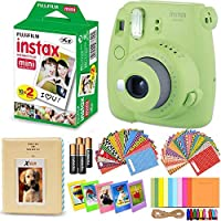 Fujifilm Instax Mini 9 Instant Camera (Lime Green) + Accessory Kit Includes: INSTAX Mini Instant Film (20 pack) + 120 Assorted Sticker Plastic Paper Frames + Photo Album + 4 AA Batteries + MORE