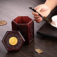 赤檀 木製茶筒 茶入 茶壺 日本茶 ティー用品 茶器 小型 保存容器 茶缶 収納瓶 置物 芸術品 ギフト 贈り物