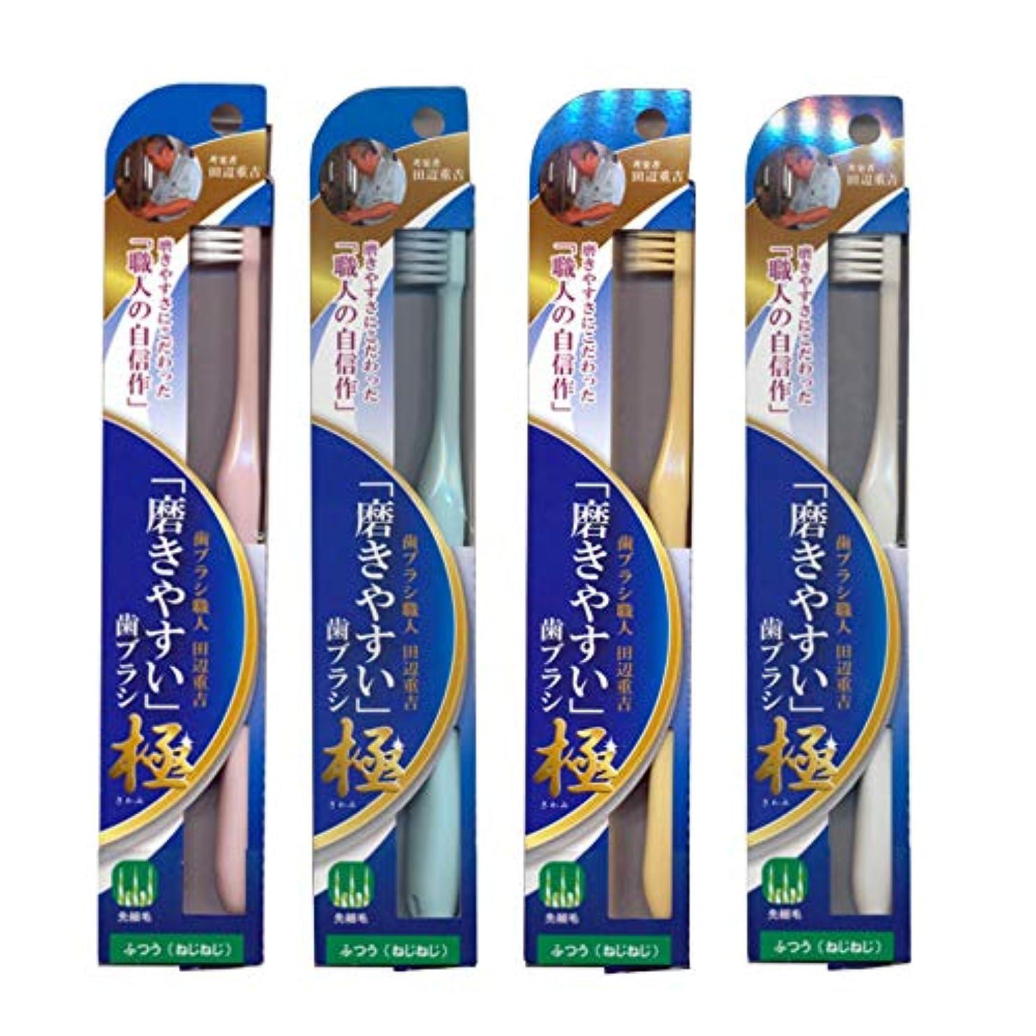 規制メリー含む磨きやすい歯ブラシ極 (ふつう ねじねじ) LT-45×4本セット(ピンク×1、ブルー×1、ホワイト×1、イエロー×1) 先細毛